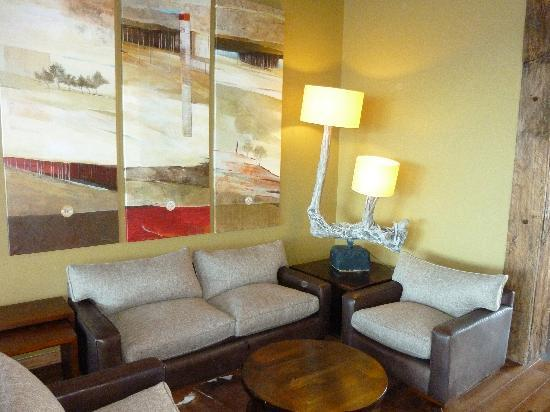 Hotel Cumbres Puerto Varas : lounge with special designed lamp