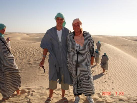Sousse, Tunisia: Me and my husband in the hot desert Sahara.