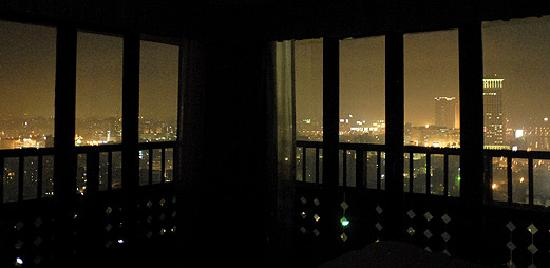 hilton cairo world trade center residences room 222 bedroom at night amazing view - Bedroom Night