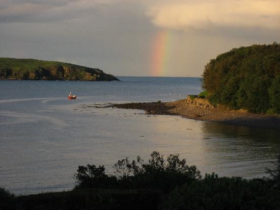 Balcary Mews Bed & Breakfast: view from Balcary Mews: rainbow over Hestan Island