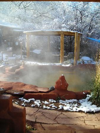 Jemez Hot Springs: Home of The Giggling Springs : It's winter in the Jemez!  Great time to soak in a Hot Spring Pool!