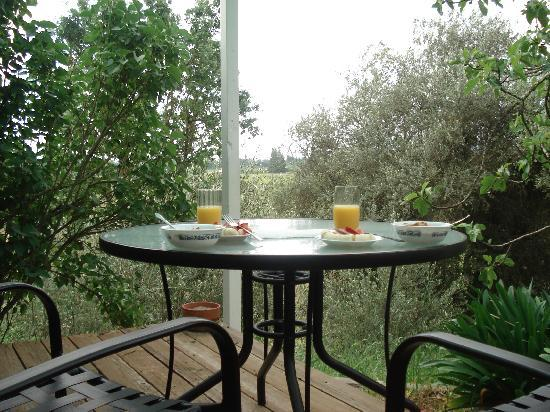 Healdsburg Country Gardens : Breakfast on the deck
