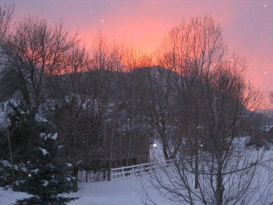 Huntsville, UT: Sunset out of the window at The Atomic Chalet