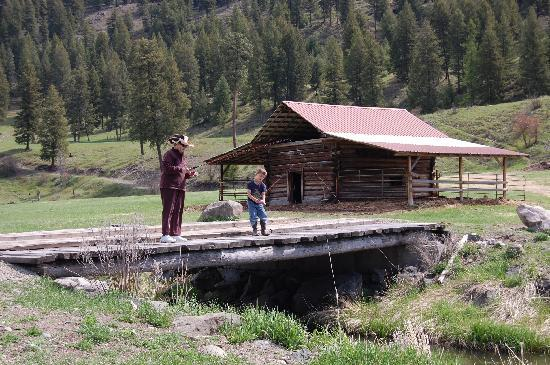 K-Diamond-K Guest Ranch: Fishing in the creek with Stevie, the grandson.