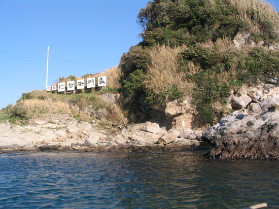 Kamogawa, Japan: 島に渡る船から写しました
