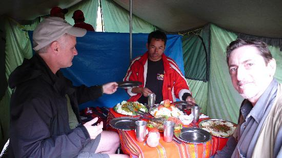 Llama Path: Meals in the mess tent, beautifully prepared and presented!