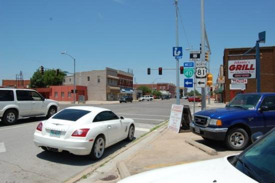 El Reno, OK: Looking north on Rock Island, one of the main streets in town. The cross street is Wade Street,
