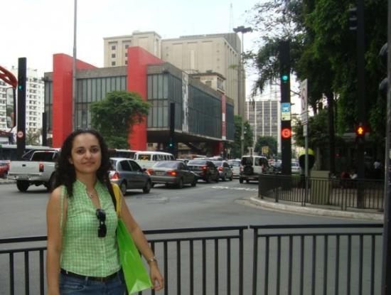 Frente al Museo de Arte (MASP) y parque Trianon en la Avenida Paulista de Sao Paulo, Brasil
