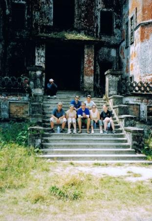Kampot, Cambodia: the whole group at Bokor Casino, Bokor Mountain