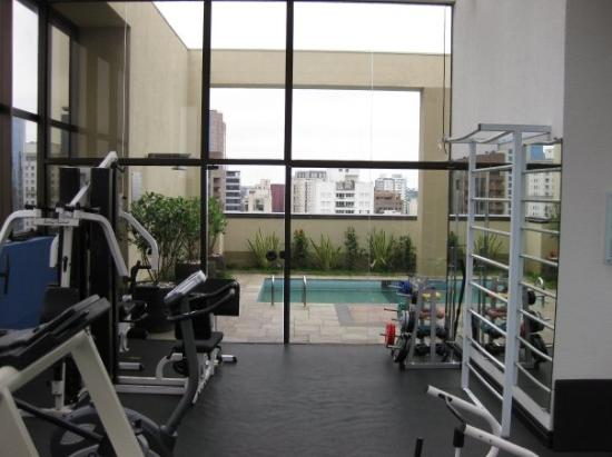 São Paulo, SP : my rooftop gym at the hotel...if you look closely you can see the bars I bent on the right from