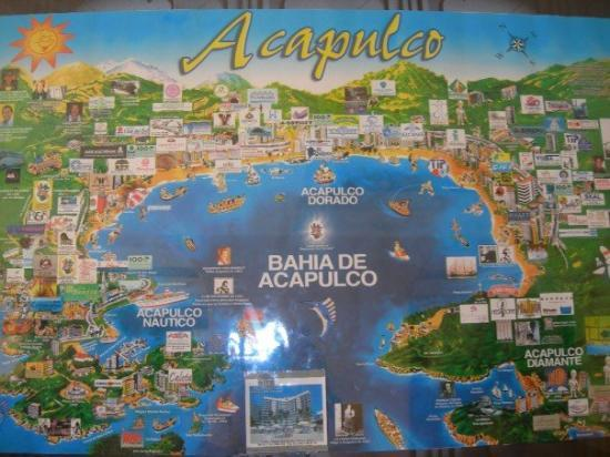 A map of Acapulco Bay and all the hotels Picture of Acapulco
