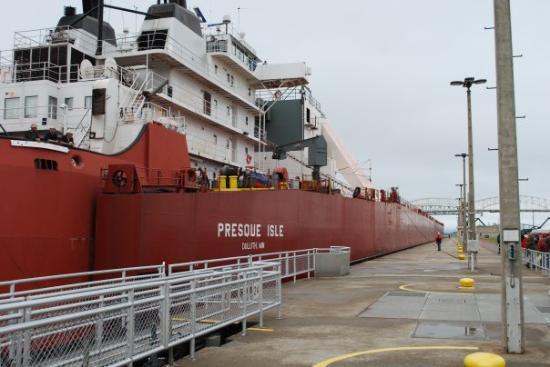 A freighter passes through the Soo Locks in Sault Ste. Marie, MI