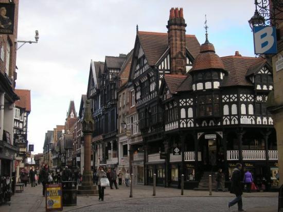 Chester,pueblo cerca de Liverpool con calles medievales.