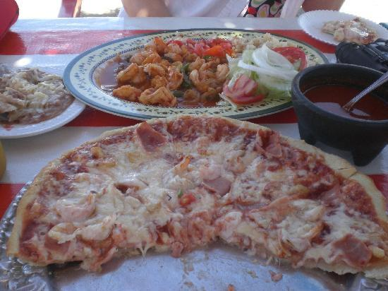 Pizza Benji's: Shrimp a la Diabla & Shrimp Pizza
