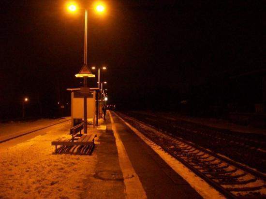 Maintal, Deutschland: Hochstadt Germany waiting on a train by myself about 5 AM one morning on my way to Switzerland.
