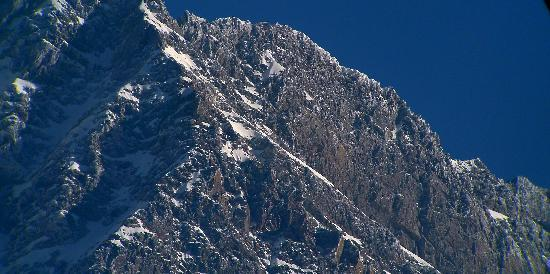 a close up of  a high peak of Dhauladhar from Zen Tea Estate, Gopalpur,Kangra, HP,India