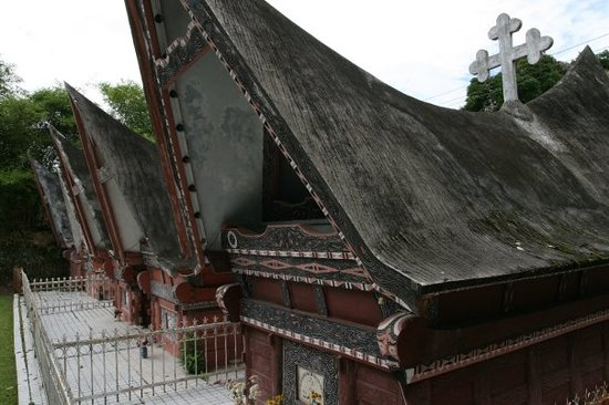 Medan, Indonesia: These are traditional Batak tombs