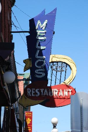 Mellos Restaurant: The sign shows only a hint of the character