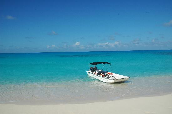 Tradewind Guest Suites on Salt Cay : Ollie's boat at Great Sand Cay