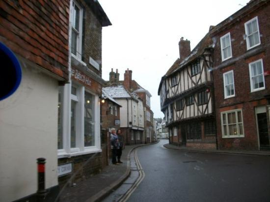 narrow winding road in Sandwich, England