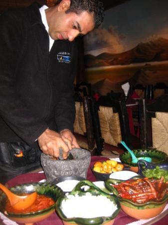 our personal salsa chef at santo coyote restaurant