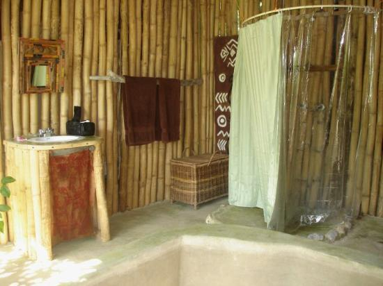 Port Antonio, Jamaica: The bathroom didn't feel private.  There were large gaps in the bamboo.  The first morning in th