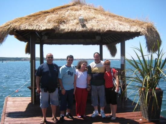 Family photo next to a Hut in Portoroz at Slovenia