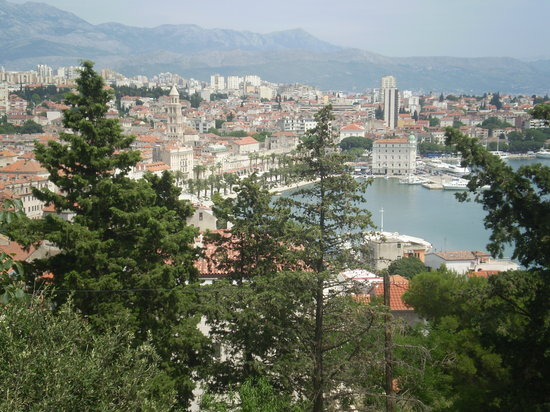 Spalato, Croazia: View of Split from Marjan forest