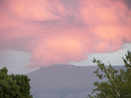 Grand Junction, CO: Grand Mesa under pink clouds