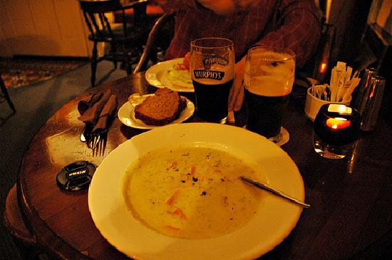 Knockeven House: seafood chowder at trade winds inn