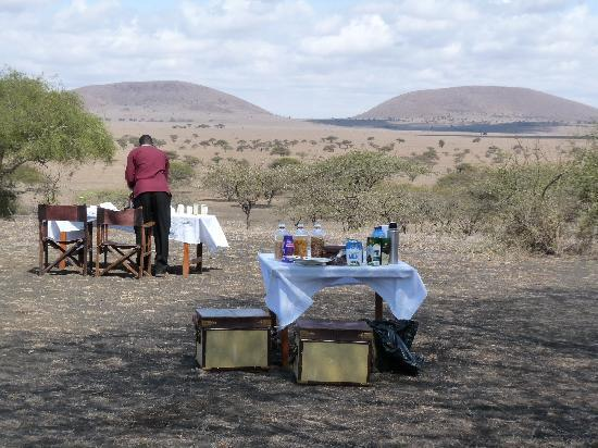 Great Plains Conservation ol Donyo Lodge: Breakfast on the plain - they surprised us with this