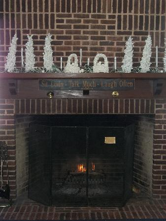 Sandy Cove Ministries: fireplace near picture windows