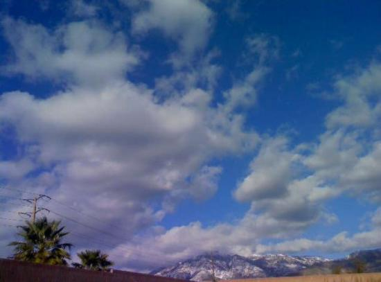 San Bernardino, CA: I like thi pic cause it has palm trees and really cool clouds and snow all in the same pic! Oh a