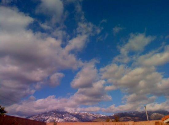 San Bernardino, CA: The snow is low on the mountains but as you can see for the first time since monday we have sun!