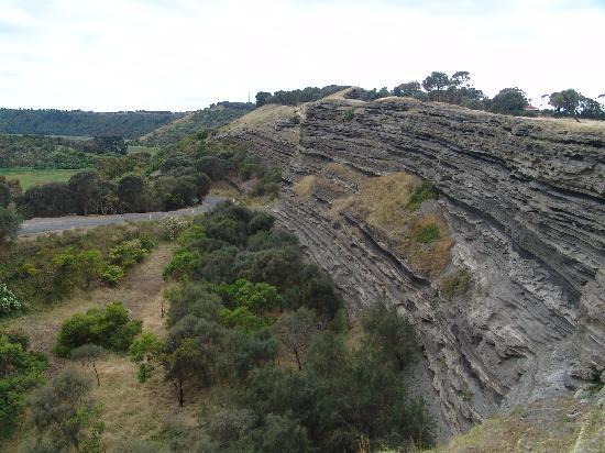 Tower Hill Wildlife Reserve: The layered cliffs