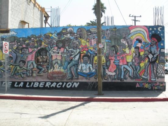 Rosarito, Mexico: Part of a mural on a side street from Avenida de Benito Juarez. This is the right hand portion o