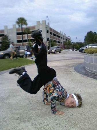 Gainesville, Floryda: Gavin Sky Suggs practicing for the freestyle portion of his Hip Hop routine.