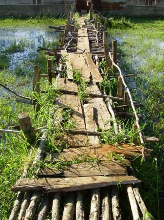 Addis Ababa, Ethiopia: Creepy bridge to go see the crocs...