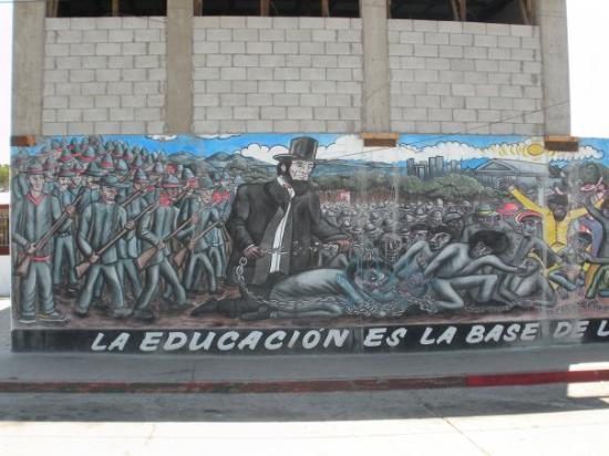 Rosarito, Mexico: Part of a mural on a side street from Avenida de Benito Juarez. This is the left hand portion of