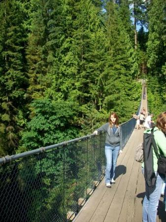 Pont suspendu et parc de Capilano : We all actually made it across and back on that scary, shaky bridge!