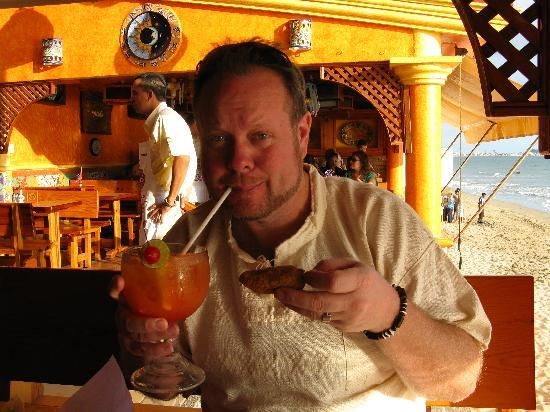 """Pancho's: mango margarita and one of the free (nothing like in America) """"poppers"""" they serve.  Good!"""