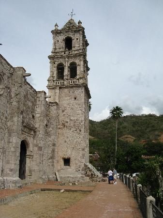 The old cathedral in Copala, we found a marijuana plant sprout here.