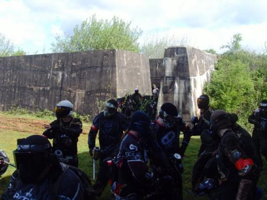 Stoke-on-Trent, UK: Northern players streaming out of the ruins of an ammunition storehouse.