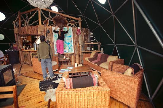 Ecocamp Patagonia: Inside the bar/lounge dome