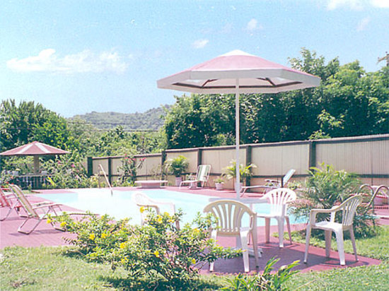 Horizons Tobago Apartments: large swimming pool with deck chairs and patio table