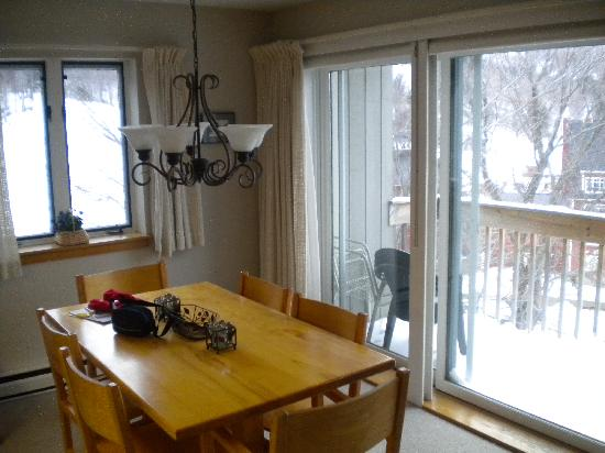 Sugarbush Village Condominums: our dining room with slopes thro the window!