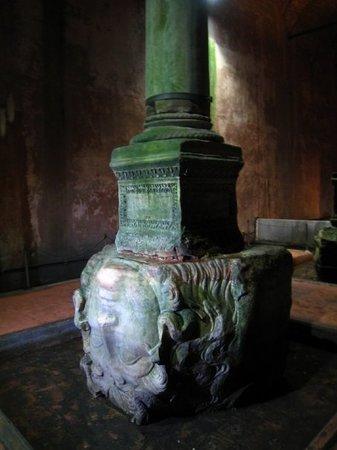 Cisterna Basílica: The column with the Medusa Head...  Medusa was a creature/ female from the Roman mythology...
