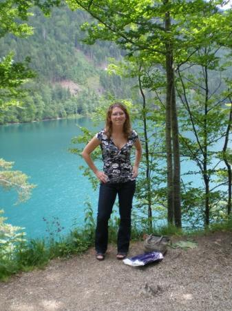 Ashley in front of the Alpsee, lake fed by the glaciers of the Alps.  And yes... the water was r
