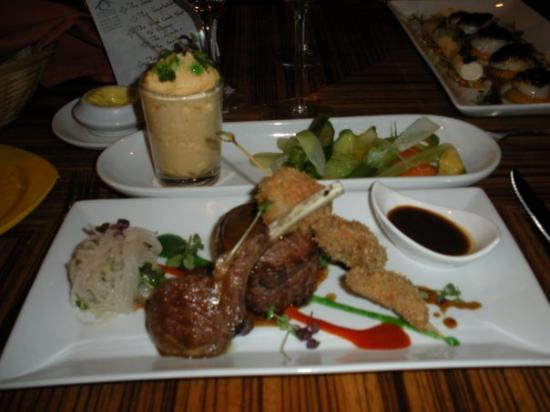 Grand Case, St. Maarten-St. Martin : The Lamb and Sweet Breads in Panko at Le Cottage.  Far left and rear is Couscous mousse mmmm!