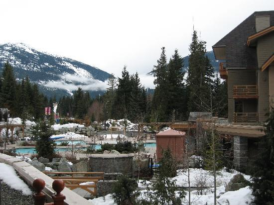 Four Seasons Resort and Residences Whistler: View of hotel grounds and mountains